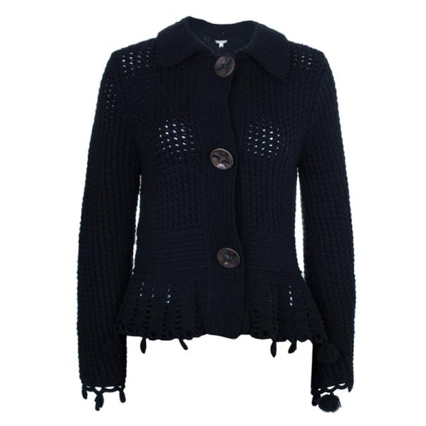 Max Mara Black Crochet Knit Cardigan L