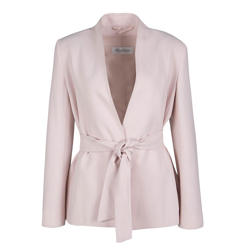 0865cc9f Max Mara Blush Pink Wool Wrap Front Belted Jacket S