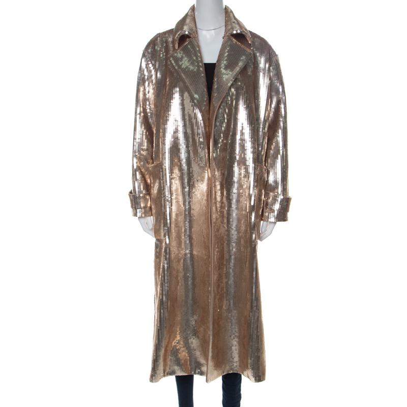 Max Mara Gold Sequinned Wool Long Starlet Coat S