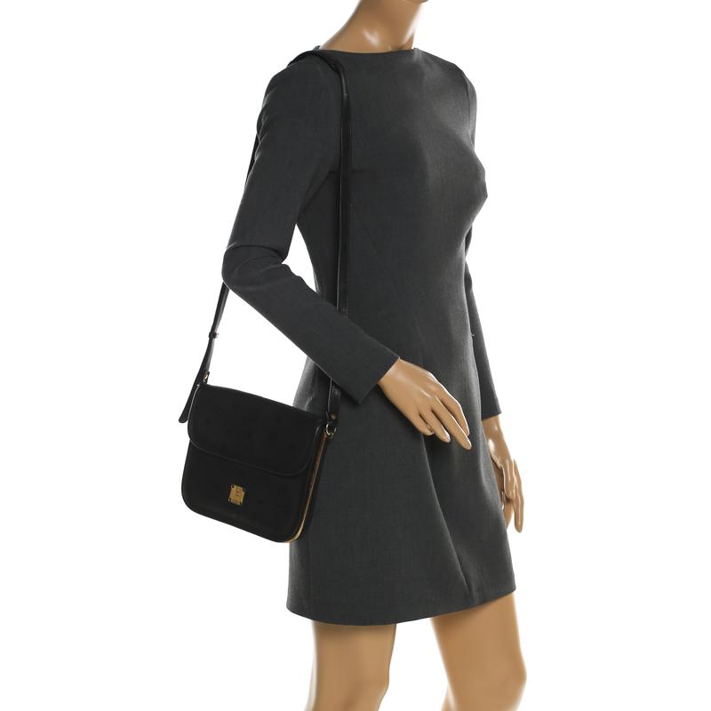 MCM Black Visetos Nylon and Leather Crossbody Bag