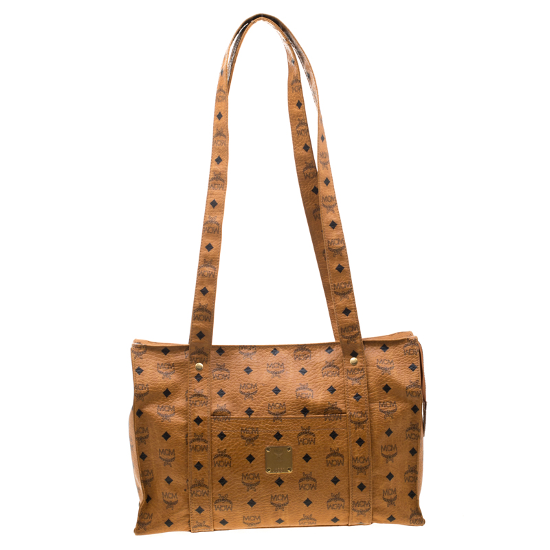 MCM Cognac Visetos Coated Canvas Top Zip Tote