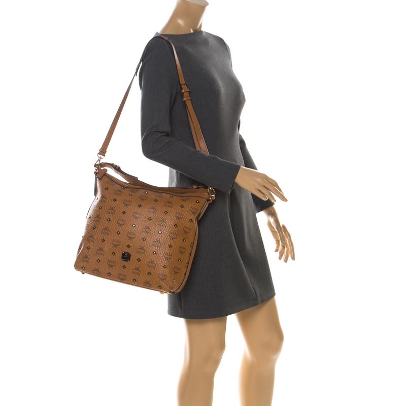 MCM Cognac Visetos Coated Canvas and Leather Crossbody Bag, Orange