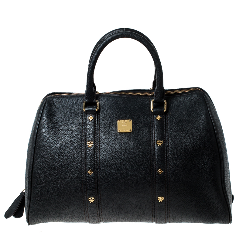 MCM Black Leather Bowler Bag