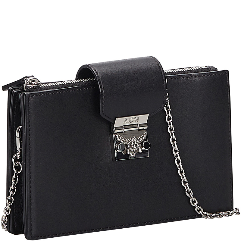 MCM Black Leather Chain Crossbody Bag