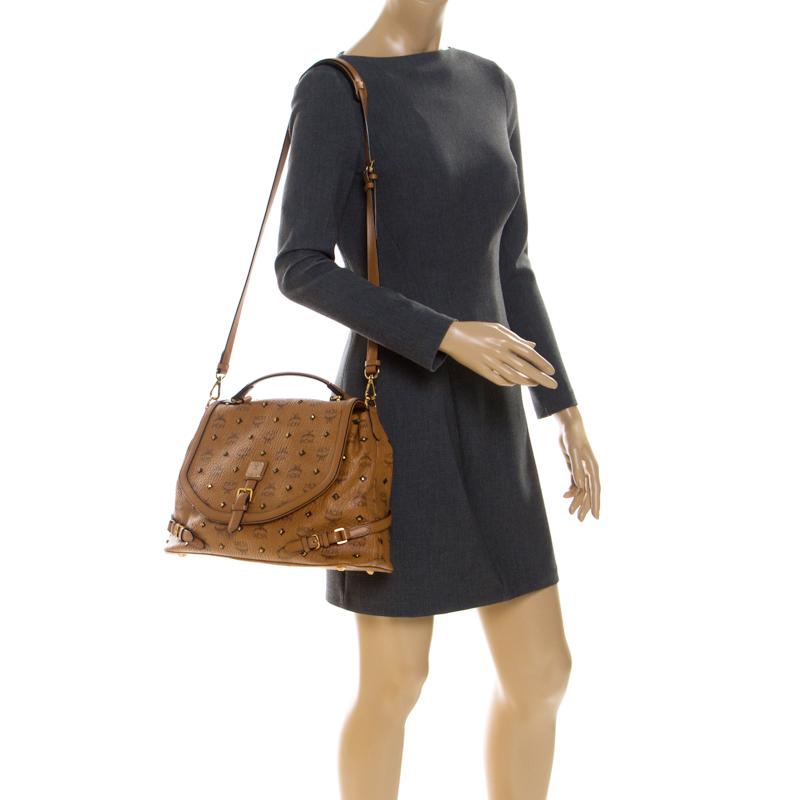 MCM Cognac/Black Visetos Leather Top Handle Bag, Orange