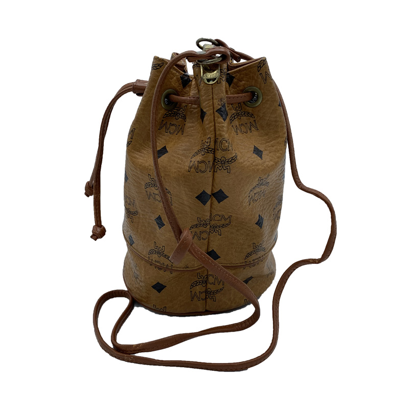 MCM Cognac Visetos Coated Canvas Bucket Shoulder Bag, Brown