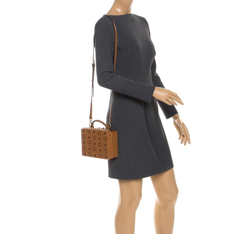 MCM Cognac Leather Berlin Top Handle Shoulder Bag, Brown