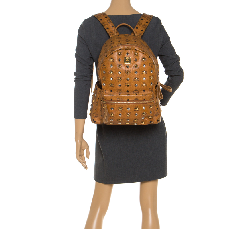 MCM Cognac Visetos Leather Large Studs Stark Backpack, Brown