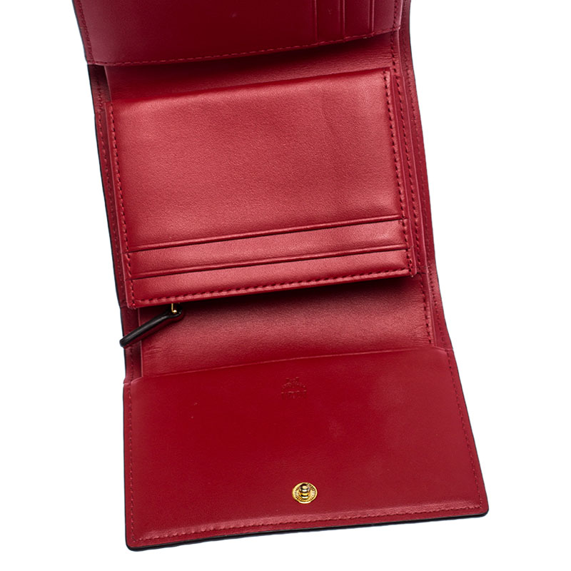 MCM Cognac Visetos Coated Canvas Tri Fold Compact Wallet, Brown