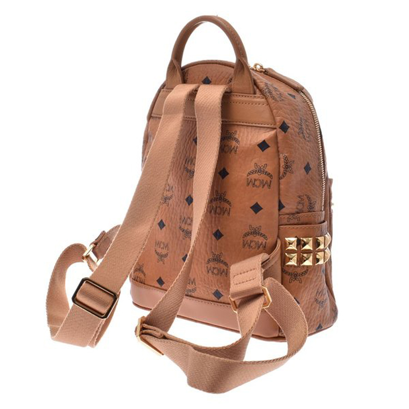 MCM Cognac Visetos Coated Canvas Small Studs Stark Backpack, Brown