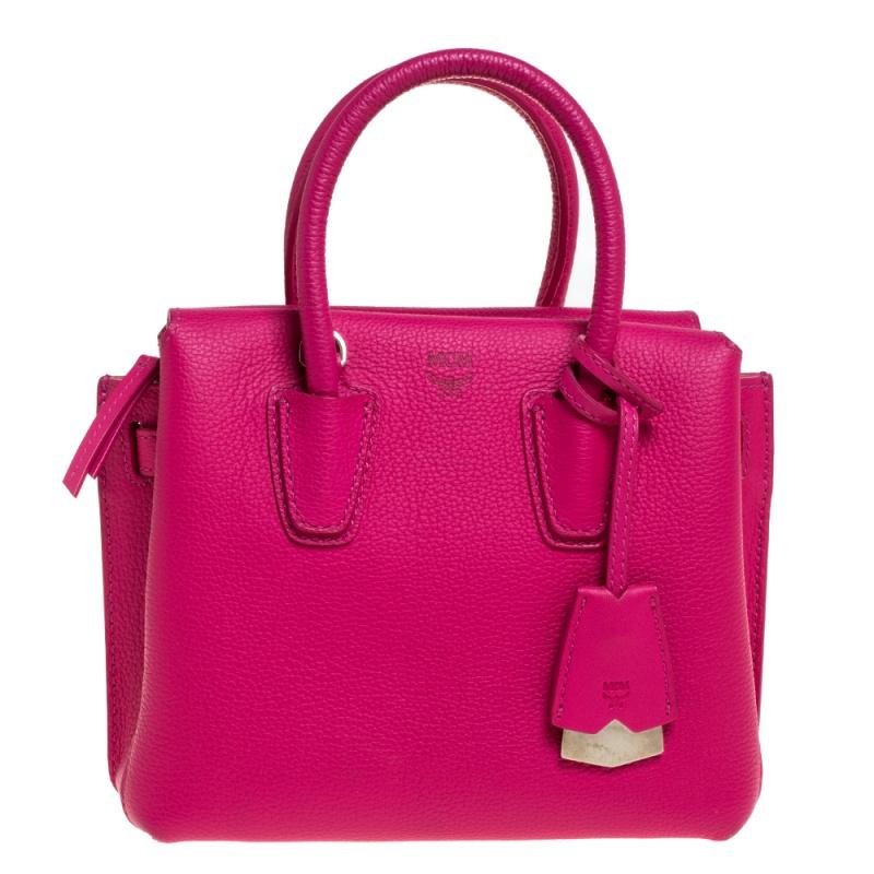 MCM Pink Leather Mini Milla Tote