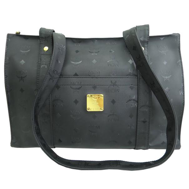 MCM Black Visetos Leather Shoulder Bag
