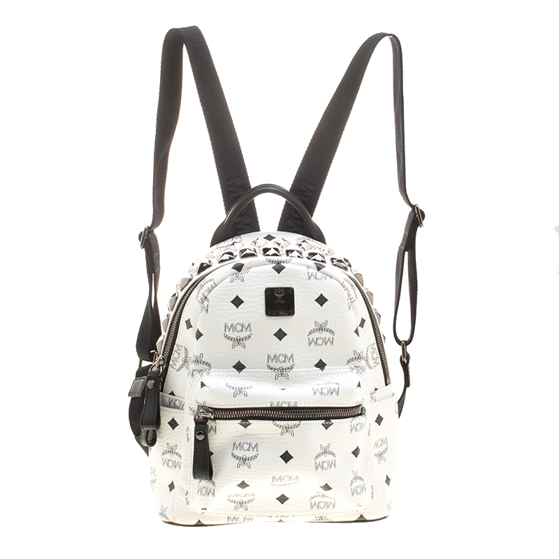 a37f53d9a23 MCM White Leather Mini Studded Backpack