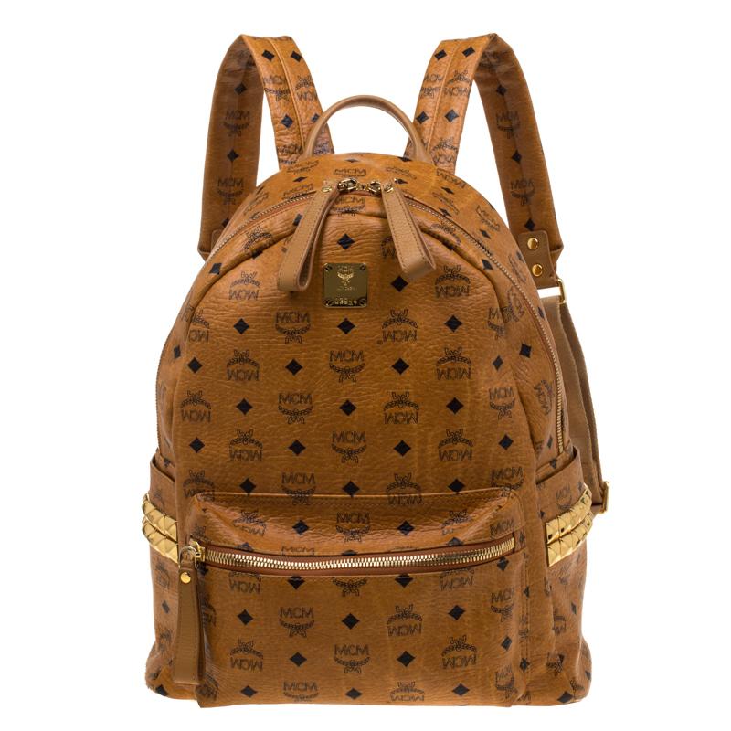 8039e6e00 Buy MCM Cognac Visetos Coated Canvas Medium Studs Stark Backpack ...