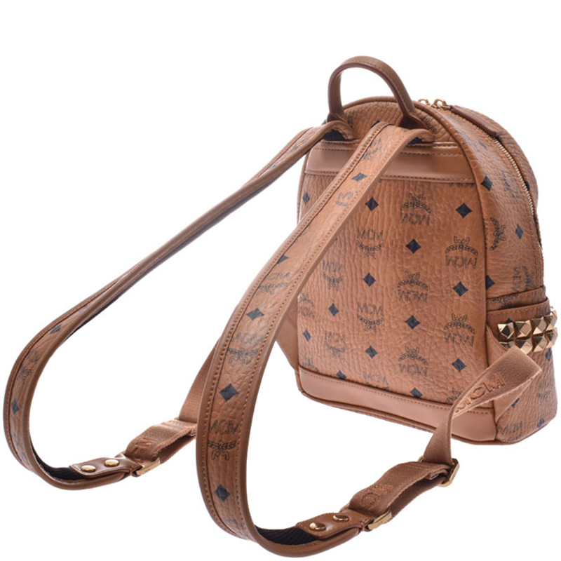 MCM Cognac Leather Gold Studs Backpack, Brown