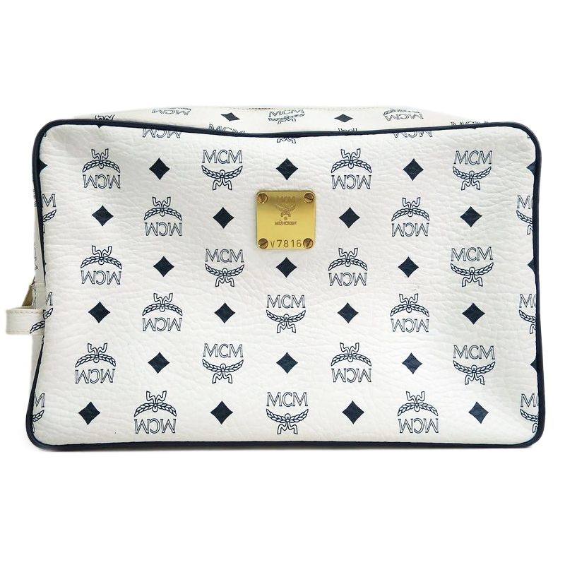 MCM White Visetos Coated Canvas Medium Nomad Collection Pouch
