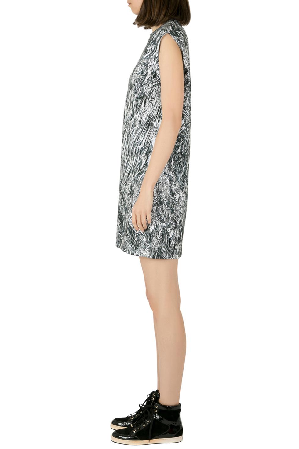 McQ by Alexander McQueen Silver Foil Printed Cotton Stretch Sleeveless Shift Dress, Black