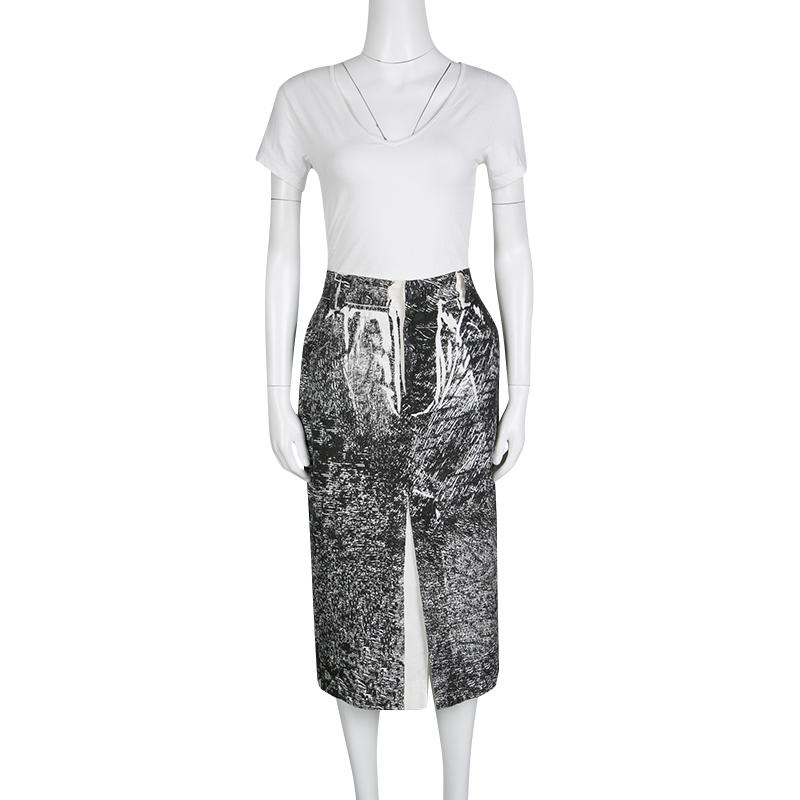 McQ by Alexander McQueen Monochrome Trompe-L'oeil Print Midi Pencil Skirt, Black