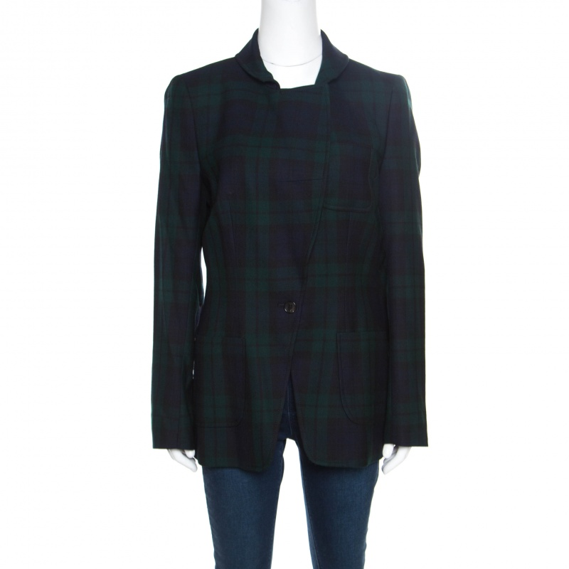 Купить со скидкой McQ by Alexander McQueen Green Tartan Plaid Wool Blazer L