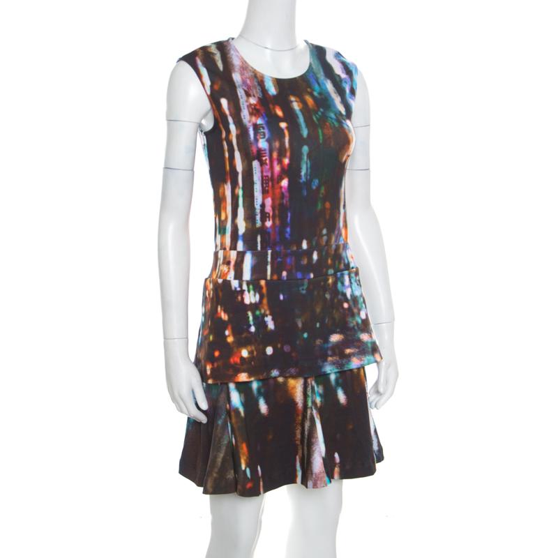 McQ by Alexander McQueen Blurry Lights Printed Jersey Sleeveless Peplum Dress, Multicolor