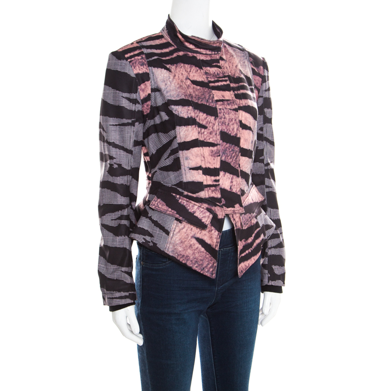 McQ by Alexander McQueen Multicolor Houndstooth and Animal Printed Angular Peplum Jacket