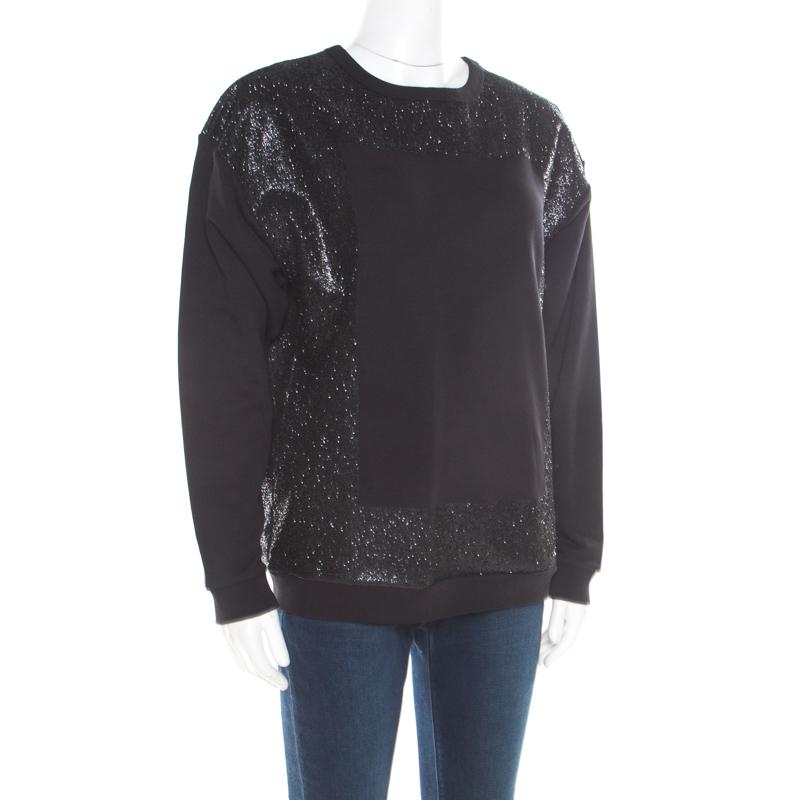 McQ by Alexander McQueen Black Crew Neck Glitter Sweatshirt