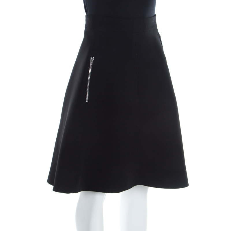 McQ by Alexander McQueen Black Crepe Paneled Zip Detail Skirt