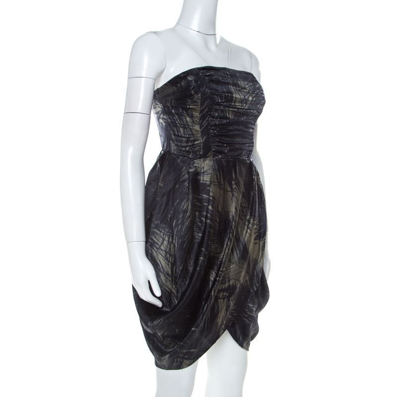 McQ by Alexander McQueen Moss Green and Black Feather Printed Strapless Dress, Grey