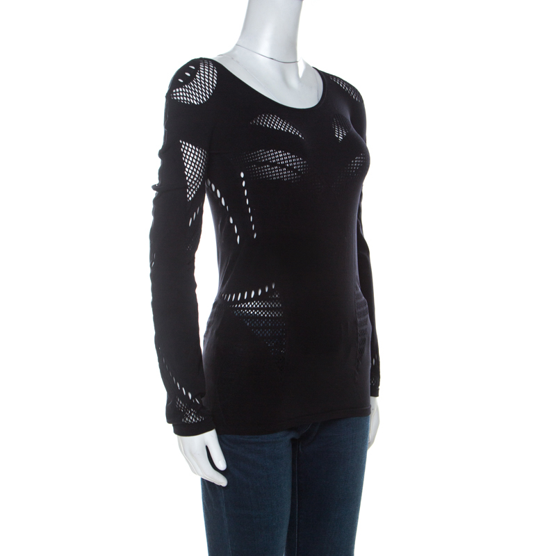 McQ by Alexander McQueen Black Stretch Perforated Knit Bodycon Top