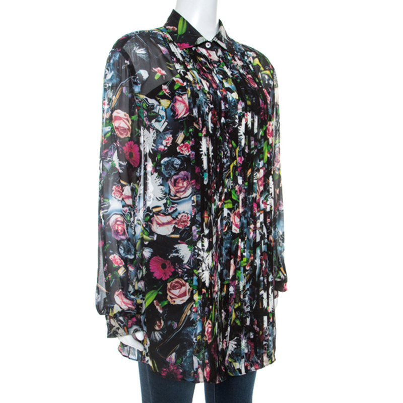 McQ by Alexander McQueen Multicolor Floral Print Silk Sheer Shirt
