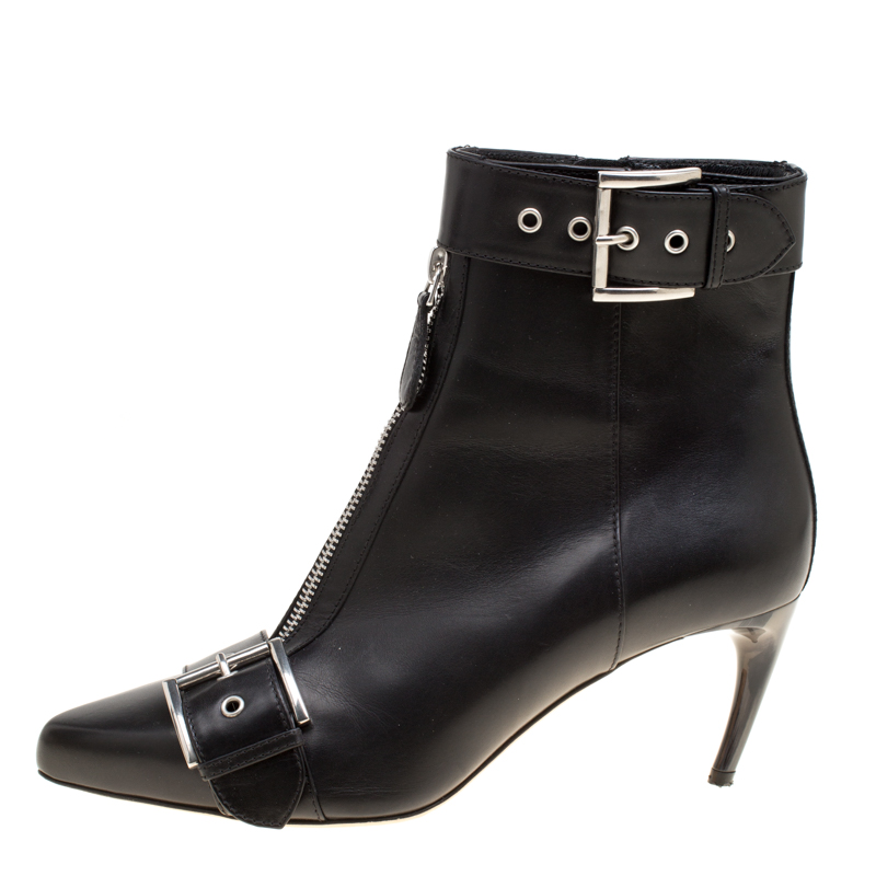Alexander McQueen Black Leather Double Buckle Pointed Toe Ankle Boots Size