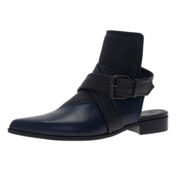 McQ by Alexander McQueen Two Tone Leather Grace Ankle Boots Size 39