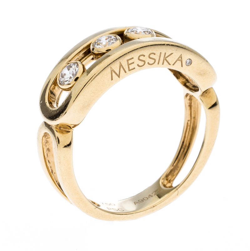 Messika Move Diamond 18k Yellow Gold Ring Size 52