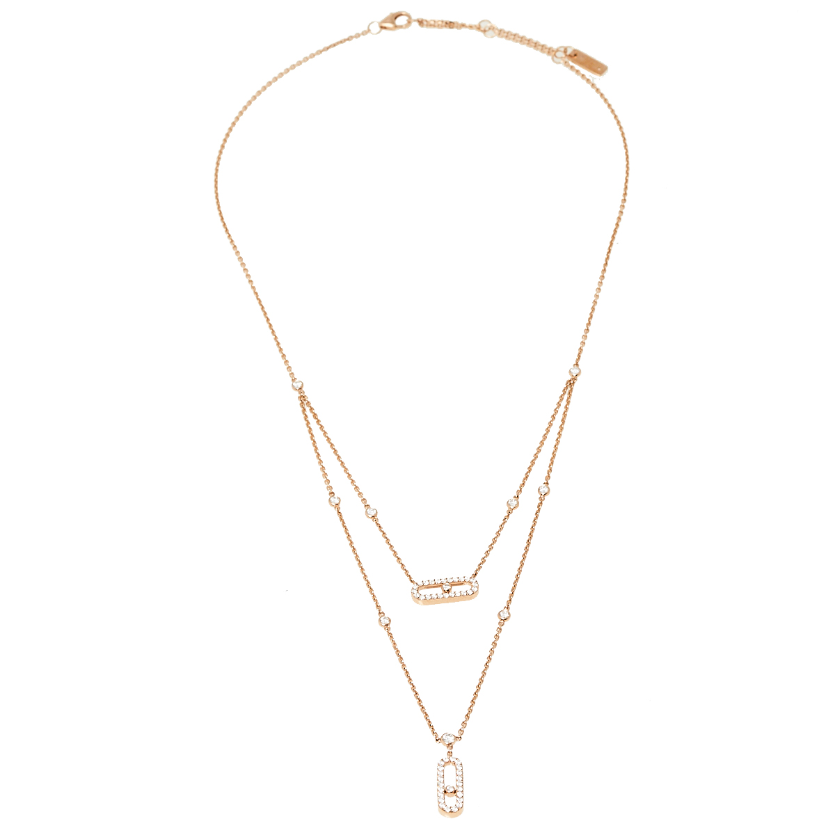 Messika Move Uno 2 Rows Pave Diamond 18K Rose Gold Layered Necklace