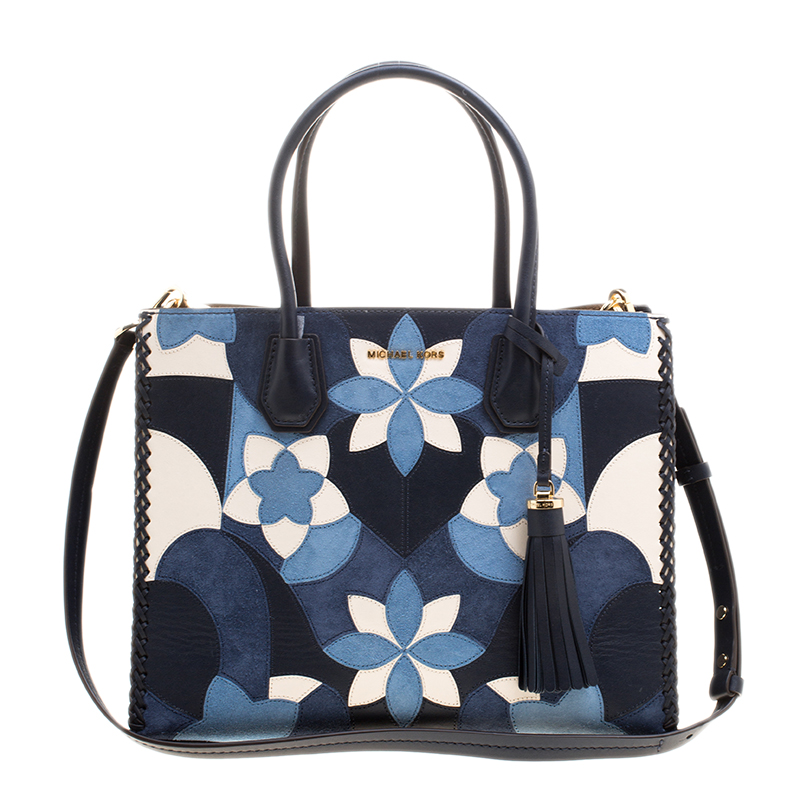 Buy Michael Kors Navy Blue Leather   Suede Mercer Floral Patchwork ... 48b880aa17