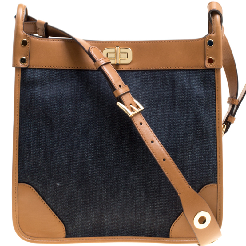 3bf3ab14b0fe5 ... Michael Kors Navy Blue Tan Denim and Leather large Sullivan North South  Messenger Bag. nextprev. prevnext