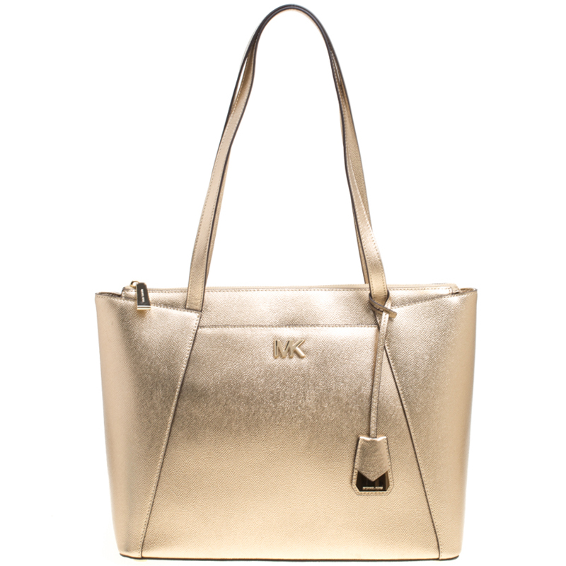 105aef2db7f31f Buy Michael Kors Light Gold Leather Maddie East West Top Zip Tote ...
