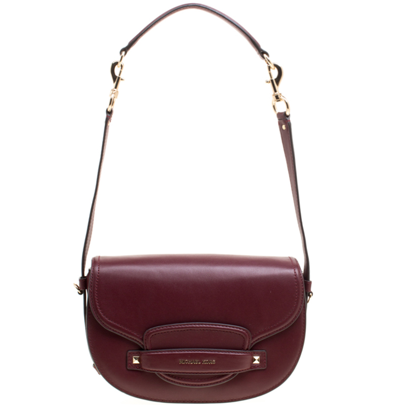 22e95d84166 Buy Michael Kors Burgundy Leather Medium Cary Saddle Shoulder Bag ...