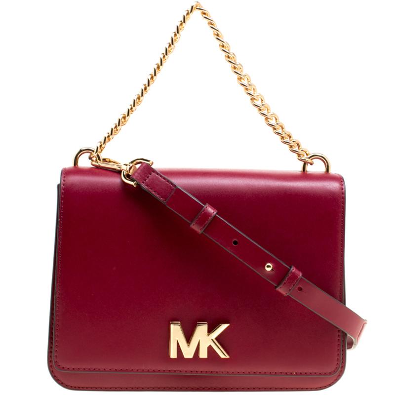 8d6205b8637f Buy Michael Kors Maroon Leather Mott Chain Swag Shoulder Bag 151959 at best  price