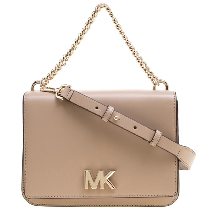 e16301fa8f9126 ... Michael Kors Beige Leather Large Mott Chain Swag Shoulder Bag.  nextprev. prevnext
