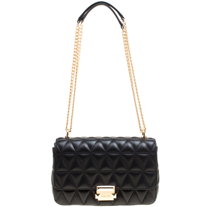 f66b3c5d8aaf ... Michael Kors Black Quilted Leather Large Sloan Studded Chain Shoulder  Bag. nextprev. prevnext