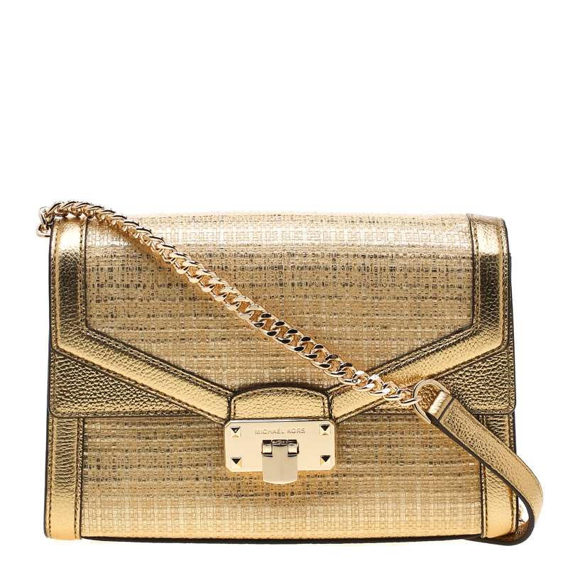 Michael Kors Gold Straw And Leather Medium Kinsley Shoulder Bag