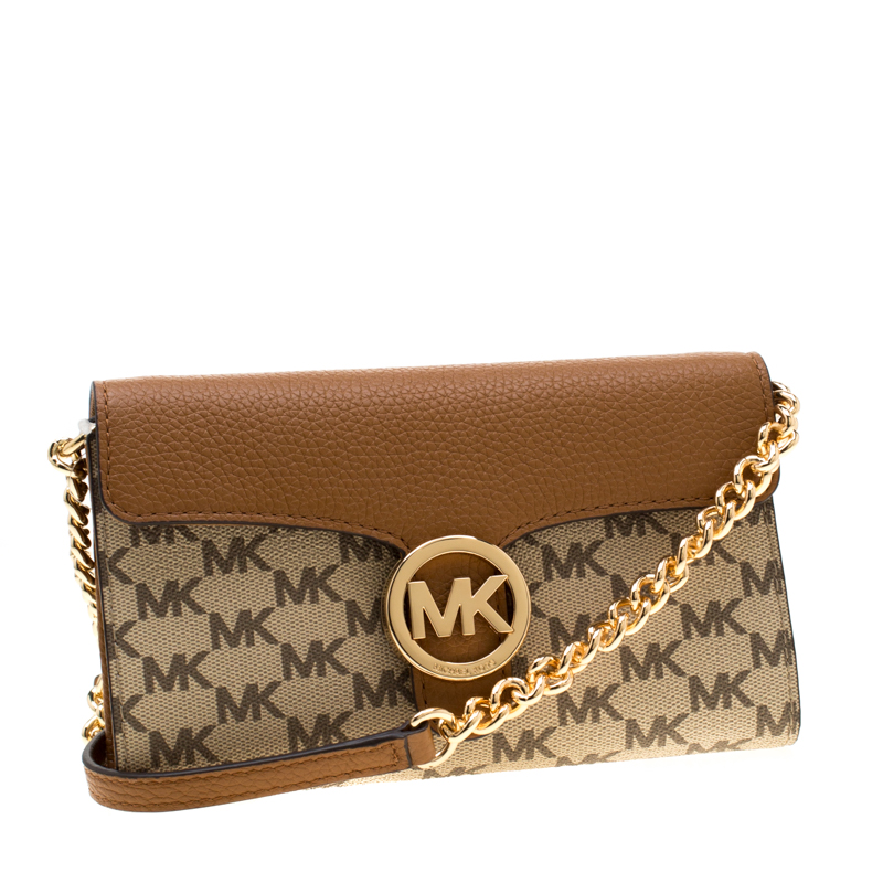 Michael Kors Brown Beige Coated Canvas And Leather Vanna Crossbody Bag