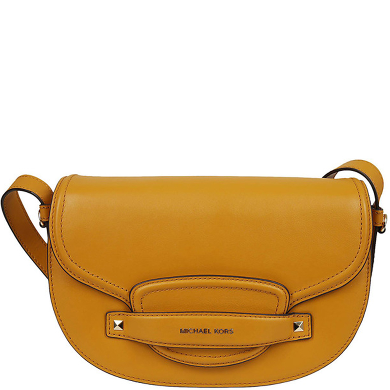 Michael Michael Kors Yellow Leather Medium Cary Saddle Crossbody Bag