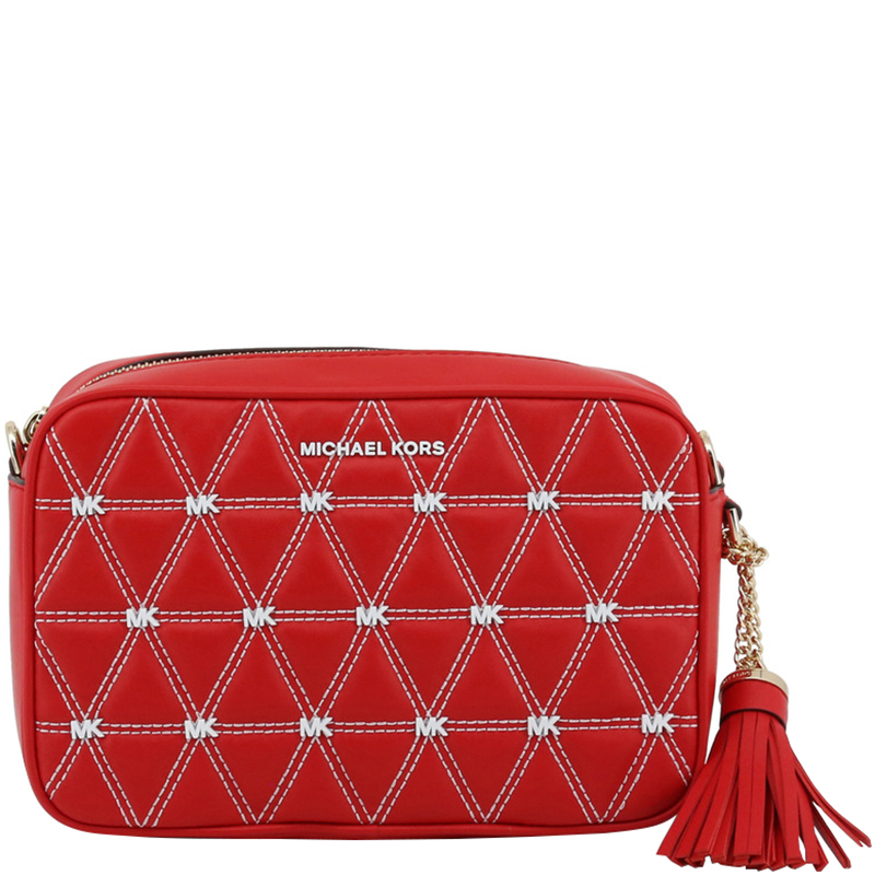 Michael Kors Bright Red Quilted Leather Medium Ginny Crossbody Bag