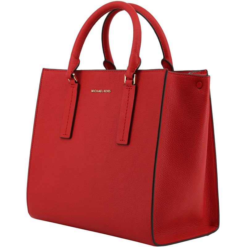 Michael Kors Bright Red Pebbled Leather Large Alessa Satchel Bag
