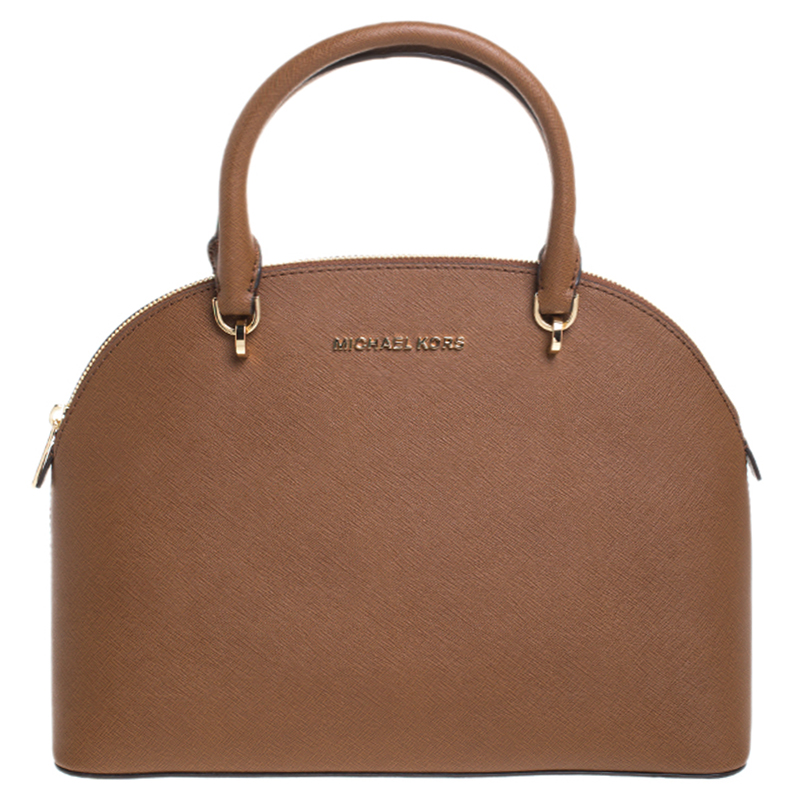 Michael Kors Brown Saffiano Leather Large Emmy Dome Satchel