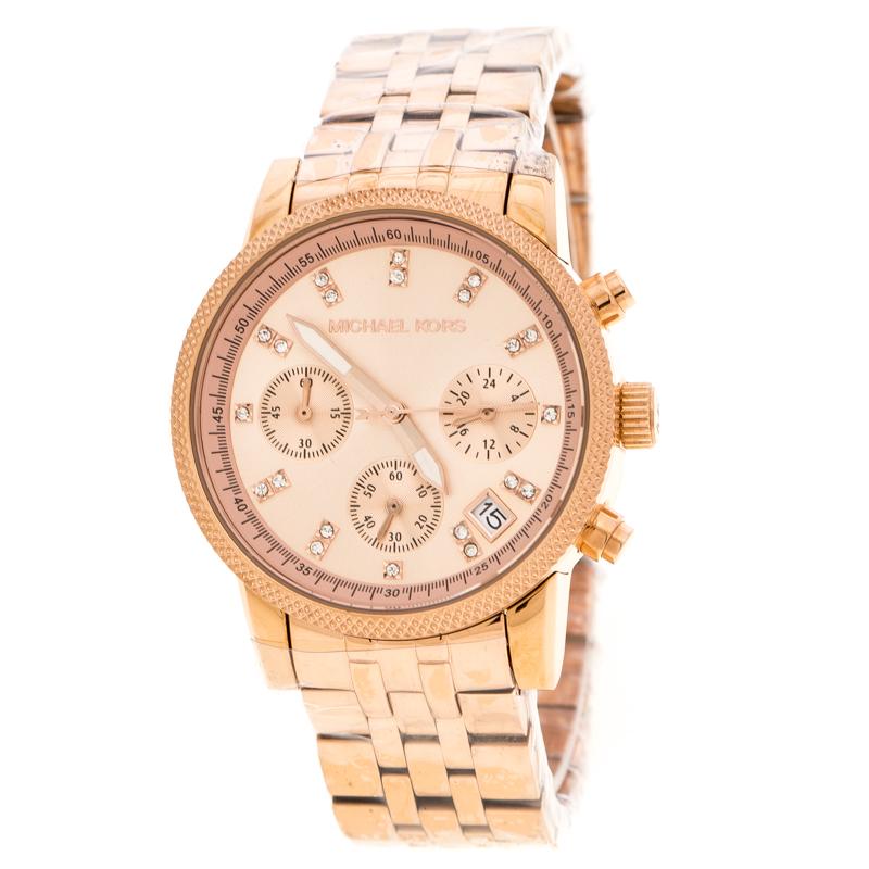 1bf9477e393b ... Michael Kors Rose Gold Plated Stainless Steel Ritz MK6077 Women s  Wristwatch 37 mm. nextprev. prevnext