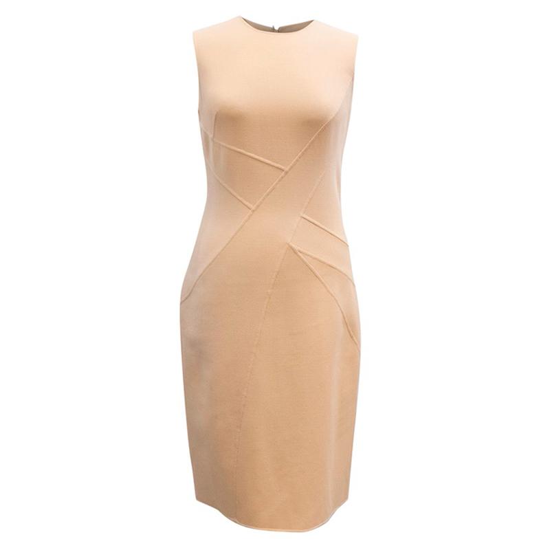 Michael Kors Nude Beige Sleeveless Wool Dress S