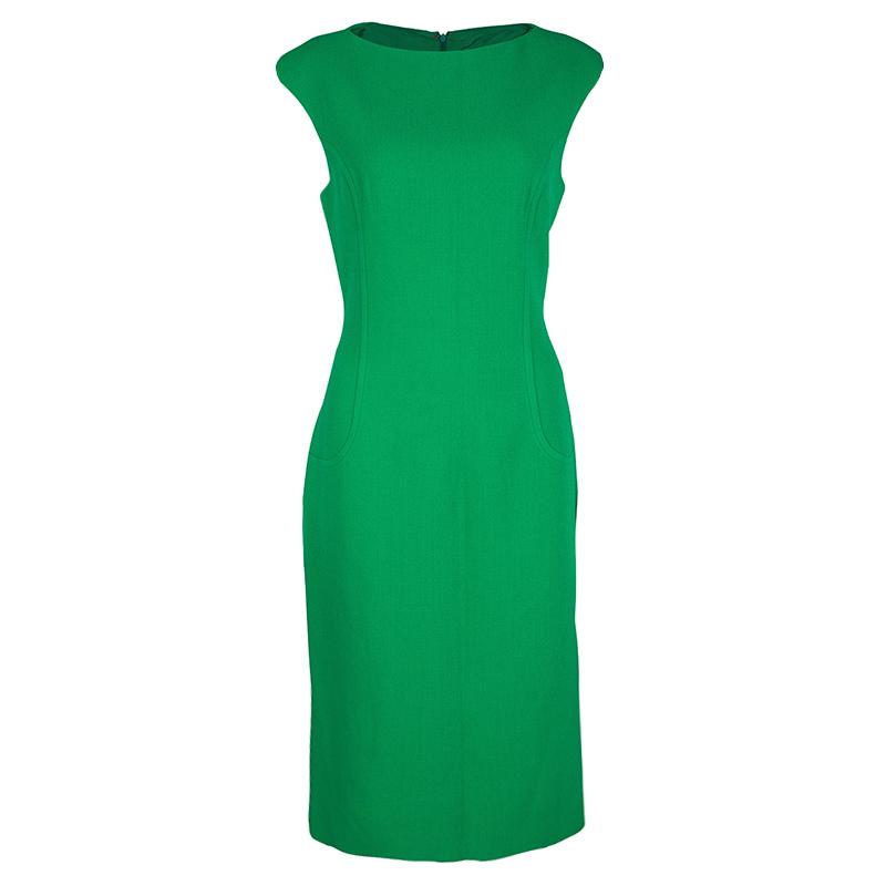 Michael Kors Green Wool Sleeveless Sheath Dress L